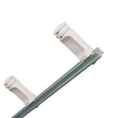 Haste galvanizada 1m para cerca com 6 isoladores - branco